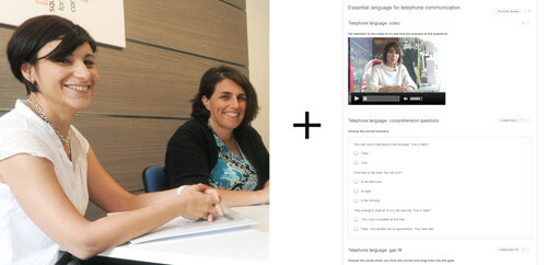 Explanation showing a lesson with the teacher and an elearning exercise