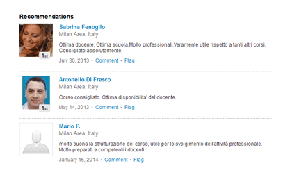 Reviews of an English course on a LinkedIn company page
