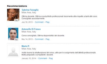 Recensioni su un corso di inglese sulla pagina LinkedIn di un'azienda