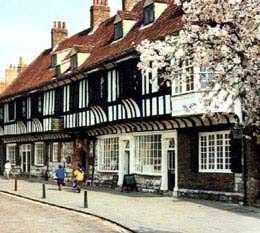 View of the old historic city centre near the school in York, Great Britain