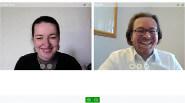 Una lezione online con insegnante e studente